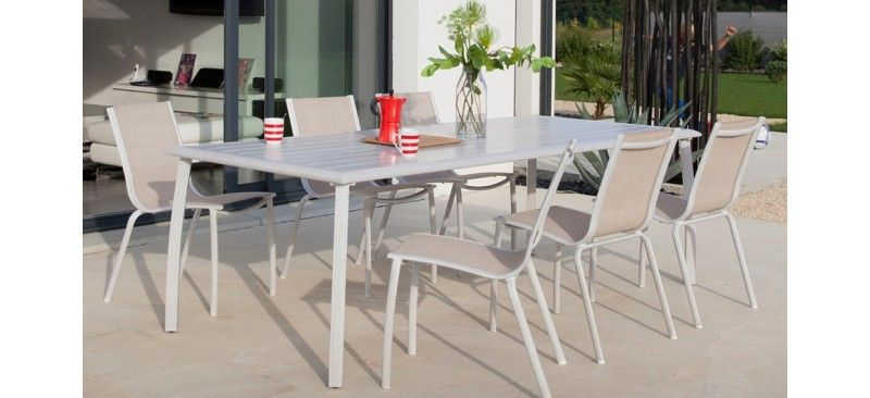 Ensemble TABLE AZURO 225 + 6 CHAISES LINEA